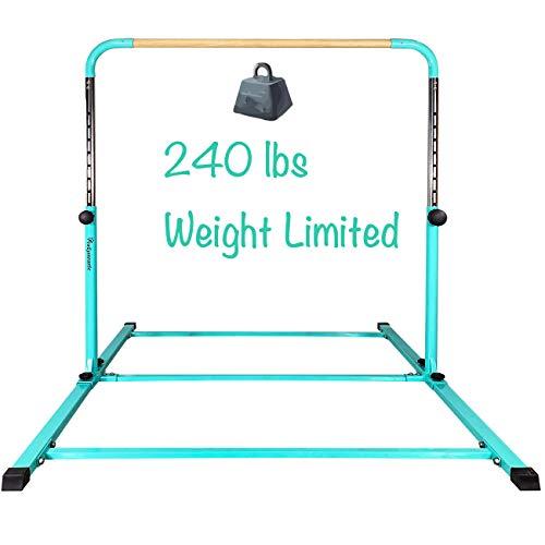 PreGymnastic Updated 5ft/6ft Long Base No Wobble Expandable Gymnastics Kip Bar with Fiberglass Rail & 304 Stainless Steel Regulating Arms, Adjustable Height 3'-5' Gymnastics Bar
