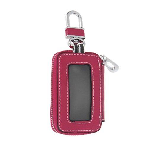 KEEPING Universal Vehicle Car Smart Key Case Holder Keychain Ring Wallet Zipper Bag For Men / Women (Rose red)