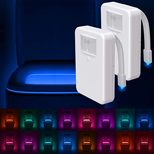 LumiLux Toilet Light Motion Detection (Pack of 2) - Advanced 16-Color LED Toilet Bowl Light, Internal Memory