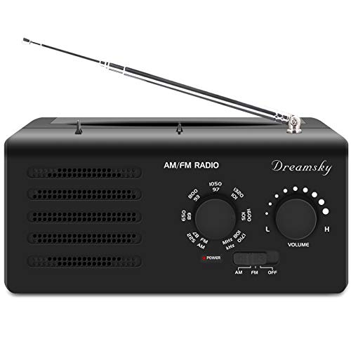 DreamSky Portable Radio AM FM AC Outlet Powered D Size Battery Operated, Transistor Radios with Great Reception, Clear Loud Sound, Headphone Jack, Gifts for Elderly Senior