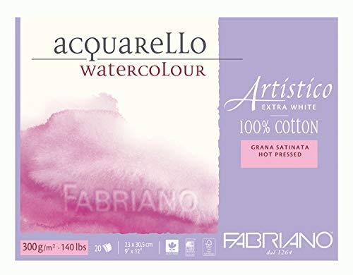 Fabriano Artistico Watercolor Extra White Block 9'x12' 300gsm HP 20 Sheets