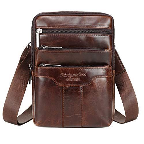 Small Leather Shoulder Bag Messenger Pack for Men Women Travel Business Crossbody Pouch Phone Wallet Satchel Sling Chest Bags Casual Day Pack Coffee