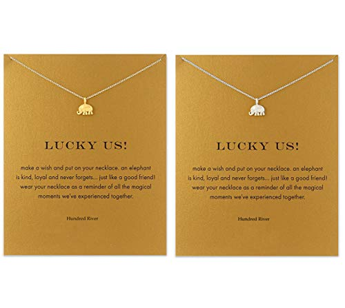 Hundred River Friendship Clover Necklace Unicorn Good Luck Elephant Necklace with Message Card Gift Card(2&3pack) (Elephant 2pack)
