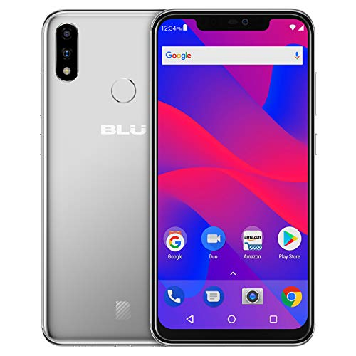 BLU VIVO XI+ - 6.2' Full HD+ Smartphone GSM Unlocked and Verizon Compatible, 128GB+6GB RAM, AI Dual Cameras -Silver