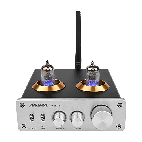 [2020 Upgraded] AIYIMA Tube T2 Audio 6J1 Tube Preamp Bluetooth 5.0 DC12V HiFi Vacuum Preamp with Treble & Bass Adjust for Home Audio Amplifier System (Silver)