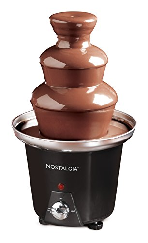 Nostalgia 24-Ounce Chocolate Fondue Fountain, 1.5-Pound Capacity, Easy To Assemble 3 Tiers, Perfect For Nacho Cheese, BBQ Sauce, Ranch, Liqueuers, Black