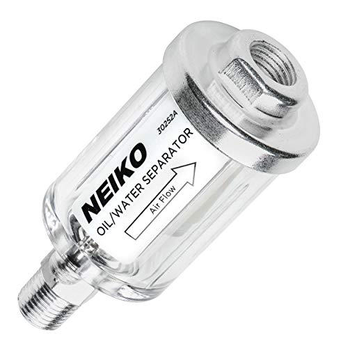 Neiko 30252A Water and Oil Separator for Air Line, 1/4' NPT Inlet and Outlet, 90 psi