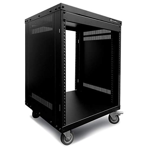 AxcessAbles RK 12U 19 Inch Cabinet AV Rack Stand. With Open-Frame Rack Install Option and Removable Wheels. MAX 550lb Capacity. For Audio Video, DJ, Home Theater, Network, Server Equipment, Studio