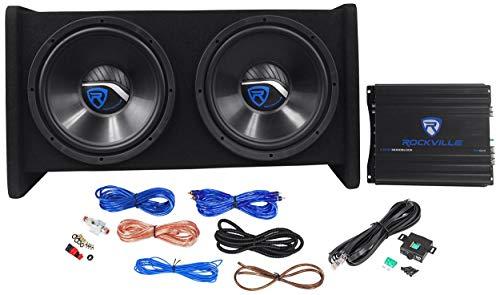 Rockville RV12.2B 1200W Dual 12' Car Subwoofer Enclosure+Mono Amplifier+Amp Kit