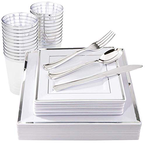 IOOOOO 150 Pieces Silver Square Plates & Disposable Silverware & Plastic Cups, Silver Plastic Dinnerware Include: 25 Dinner Plates, 25 Dessert Plates, 25 Forks, 25 Knives, 25 Spoons, 25 Tumblers