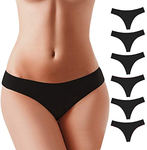 BUBBLELIME XS-XL Sport Thongs Panties_SET3 M(2)_6 Pack Black_Bonded