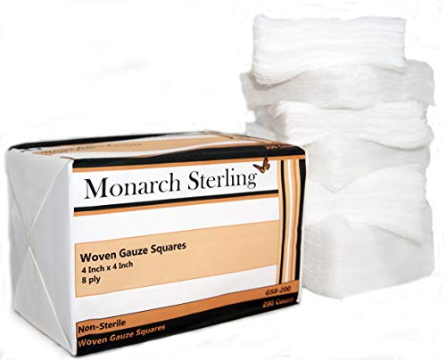 Monarch Sterling 100% Cotton Non-Sterile Woven 4 inch 8 ply Gauze Squares for Wound Dressing 200 per Pack