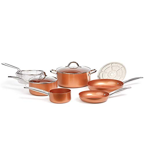 Copper Chef Cookware 9-Pc. Round Pan Set, Aluminum and Steel with Ceramic Non-Stick Coating Cookware Set, Includes Lids, Frying and Roasting Pans Accessories, Pots and Pans Set
