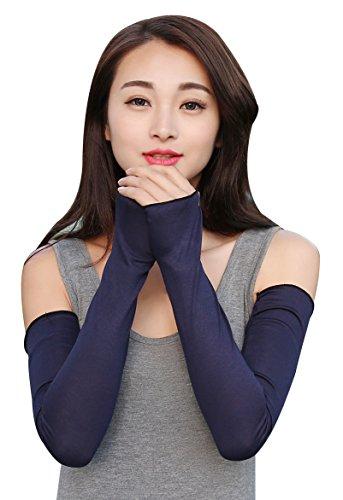 Bellady Women Outdoor Sun Block Soft Long Arm Sleeve Fingerless Gloves,Navy