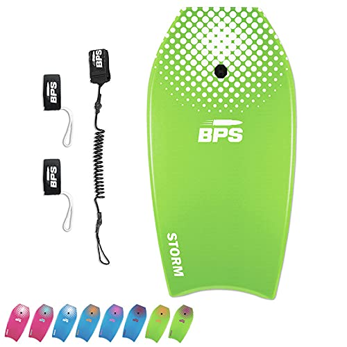 BPS 33' Bodyboard Pack with HDPE Slick Bottom - Enhanced Speed and Maneuverability with HDPE for Great Boogie Boarding Experience - Includes Coiled Leash and Fin Savers (Green/White)
