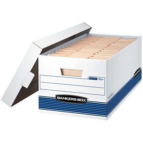 Bankers Box STOR/FILE Medium-Duty Storage Boxes, FastFold, Lift-Off Lid, Letter, Case of 12 (00701), White/Blue