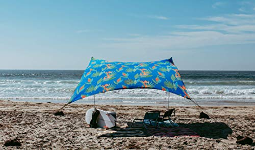 Neso Tents Grande Beach Tent, 7ft Tall, 9 x 9ft, Reinforced Corners and Cooler Pocket (Tropical Floral)