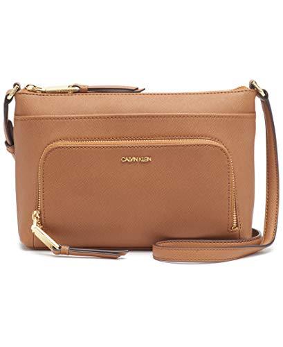 Calvin Klein Lily Saffiano Leather Top Zip Crossbody, Caramel