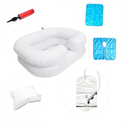 Portable Inflatable Shampoo Bowl with Sprayer for Bedside,Easy to Inflate, Durable, Hair Washing Basin in Bed for Bedridden,Elderly and Disabled