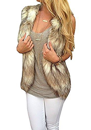 Dikoaina Fashion Women Sleeveless Front Open Warm Faux Fur Vests Coat Outwear (XL)