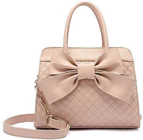 Scarleton Quilted Bow Satchel Handbag for Women, Vegan Leather Crossbody Bag, Shoulder Bag, Tote Purse, H104805, Beige Pink