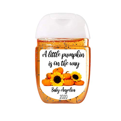A Little Pumpkin is on the way Hand Sanitizer Labels | Sheet of 30 Personalized Labels | Fall Theme Baby Shower Favor