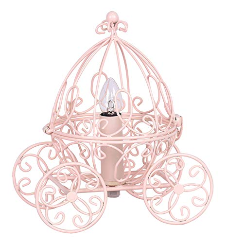 Grandview Gallery Princess Table Lamp - Pretty Carriage Lamp for Little Girls Fairy or Cinderella Themed Bedroom, Pink