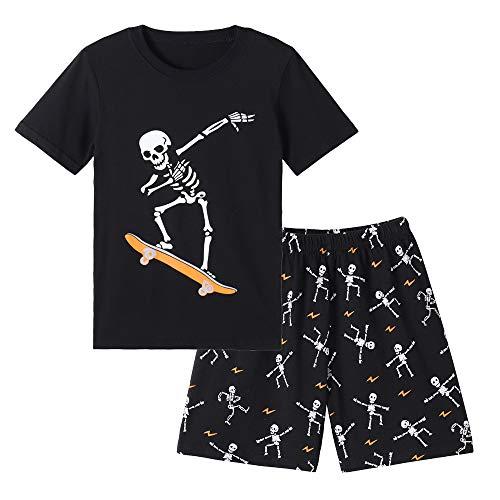 MyFav Big Boys Glow in Dark Skull Pjs Cotton Sleepwear Summer Pajama Shorts Sets, Skateboard, 8 Years