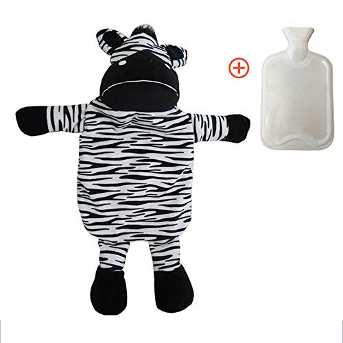 TRIEtree Hot Water Bottle,Classic Rubber Hot Water Bottle Thicken Hand Warmer with Cute Fleece 3D Animal Cover for Home and Outdoor(Zebra)