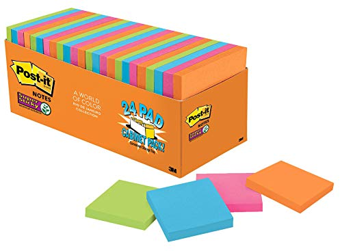 Post-it Super Sticky Notes, 3 in x 3 in, 24 Pads, 2x the Sticking Power, Rio de Janeiro Collection, Bright Colors (Orange, Pink, Blue, Green), Recyclable (654-24SSAU-CP)