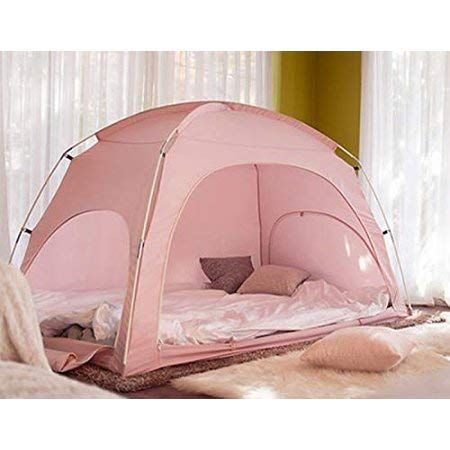Miyaya Privacy Play Tent Warm Tent on Bed and Cozy Sleep BedTent, Play Indoor Tent (Pink Bed Tent)