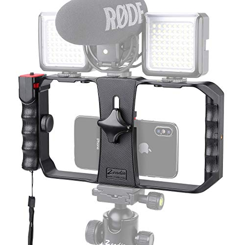 Zeadio Wireless Smartphone Video Rig, Phone Movies Mount Handle Grip Stabilizer with Bluetooth Remote Shutter, for Video Maker Filmmaker Videographer, Fits for All iPhone and Android Smartphones