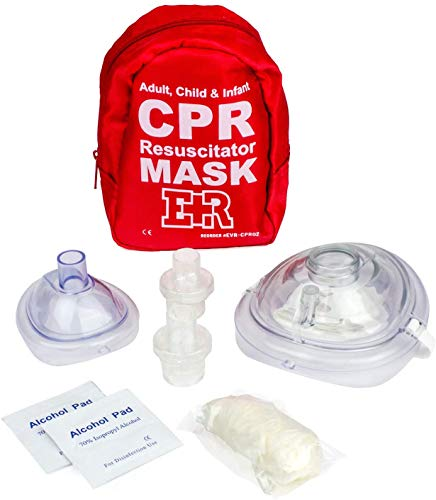 Ever Ready First Aid Adult and Infant CPR Mask Combo Kit with 2 Valves with Pair of Nitrile Gloves & 2 Alcohol Prep Pads - Red