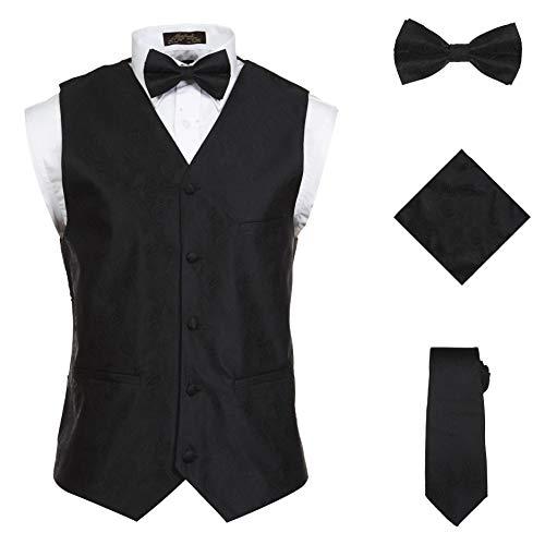 Vittorino Men 's 4 Piece Formal Paisley Vest Set With Tuxedo Vest Tie Hankerchief Bow Tie,Black,Small