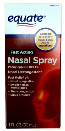 Equate - Equate - Nasal Four, Phenylephrine Hydrochloride, Decongestant Spray, (Compare To 4 Way), 1-Ounce (Pack of 2) -