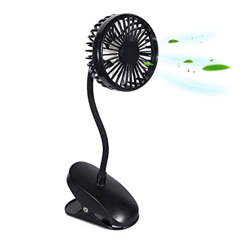 TianNorth Clip Fan Rechargeable Battery Operated Clip on Mini Desk Fan For Baby Strollers,Home, Office, Dorm, outdoor (Black)