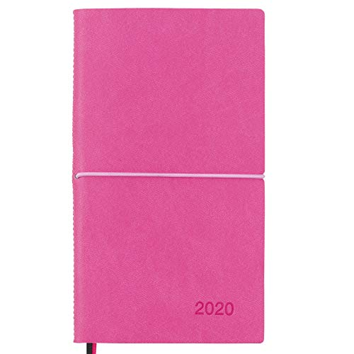 2020 Planner/Pocket Calendar: 14 Months (Nov 2019 - Dec 2020) Weekly, Monthly Calendars, Leather Material, Elastic Closure, Decorative Stitching, Page Finder Ribbons and Notes Pages (Pink/Black)