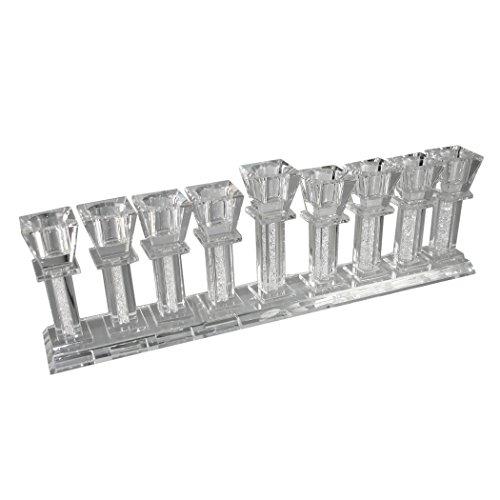 Stunning Modern Designed Crystal Filled Hannukah / Chanukah Judaica Menorah