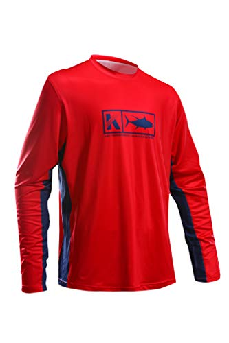 Performance Fishing Shirt Vented Long Sleeve Shirt Sun Protection UPF50 Moisture Wicking Rash Guard with Mesh Sides Loose Fit, Red,X-Large
