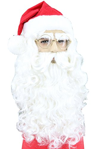Topcosplay Christmas Santa Wig Beard and Eyebrow Set Santa Suit Costumes Adult