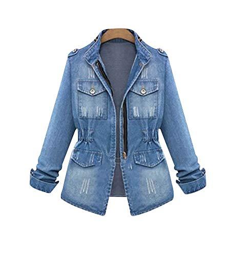 SUSIELADY Women Casual Denim Jacket Jeans Tops Half Sleeve Trucker Coat Outerwear Girls Fashion Slim Outercoat Windbreaker (Blue, Meduim)