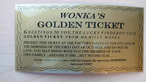 Wonkamania Willy Wonka Golden Ticket ~ Laminated - 6 1/4 x 3 1/4
