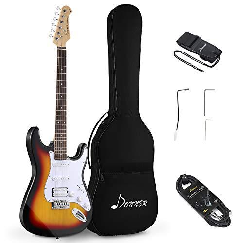 Donner DST-1S Solid Body Full-Size 39 Inch Electric Guitar Kit Sunburst, Beginner Starter, with Bag, Strap, Cable