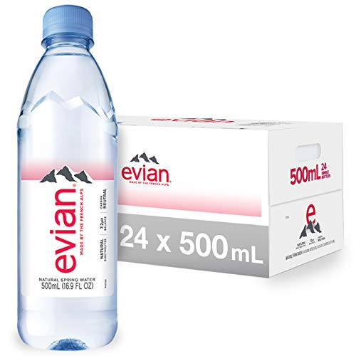 evian Natural Spring Water Bottles, Naturally Filtered Spring Water in Individual-Sized Plastic Bottles, 16.9 Fl Oz (Pack of 24)