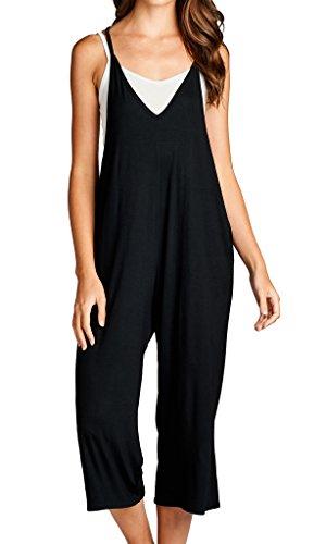 Loving People Solid Spaghetti Strap V Neck Loose Fit Capri Jumpsuit, Large, Black