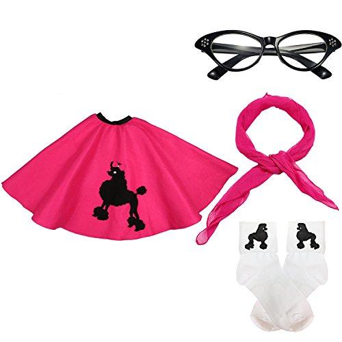 50s Girls Costume Accessory Set - Poodle Skirt, Chiffon Scarf, Cat Eye Glasses,Bobby Socks,Hot Pink