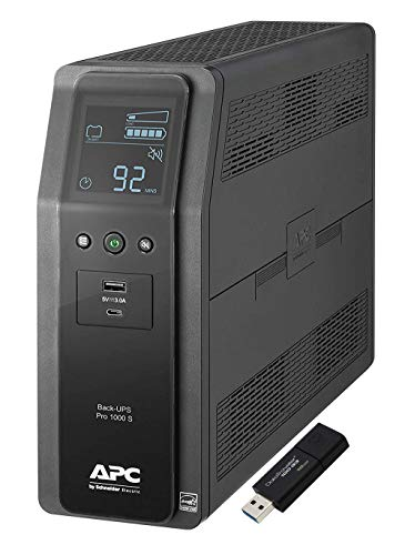 APC Sine Wave UPS Battery Backup & Surge Protector, 1000VA, APC Back-UPS Pro (BR1000MS) Bundle Including 16GB DataTraveler