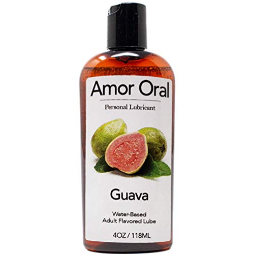 Amor Oral Guava Flavored Lube, Edible and Body Safe, Water-Based Personal Lubricant 4 Ounce Guava