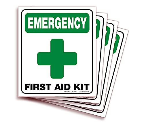 Emergency First Aid Kit Signs Stickers for Home, Schools & Business – 4 Pack 6x7 Inch – Premium Self-Adhesive Vinyl, Laminated UV, Weather, Scratch, Water and Fade Resistance, Indoor & Outdoor