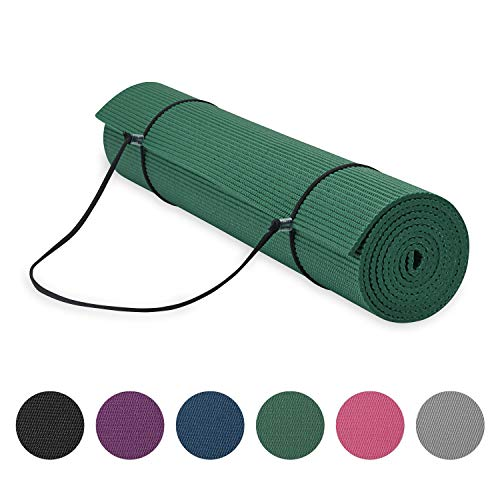 Gaiam Essentials Premium Yoga Mat With Yoga Mat Carrier Sling (72 InchL X 24 InchW X 1/4 Inch Thick)